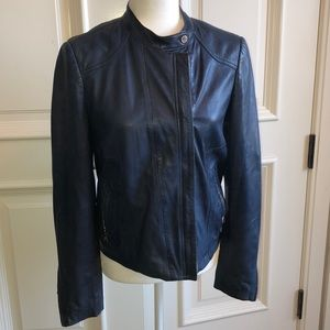 Massimo Dutti blue leather jacket